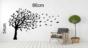 TREE BLOWING IN WIND WALL ART VINYL CUT IMAGE 86cm x 54cm