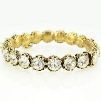 VINTAGE Signed Jeanne Clear RHINESTONE Antiqued Goldtone Clamper BANGLE BRACELET