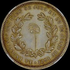"""FINEST & ONLY"" @ PCGS & NGC MS62 PERU INDEPENDENCE MEDAL 4 REALE TONED LIBERTY"