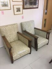 TWO Arts and Crafts style Vintage Antique Armchairs, Collect Rickmansworth WD3
