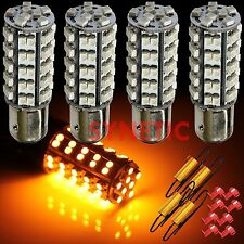 4x 1157 SMD LED Amber/Yellow Turn Signal Blinker Light Bulbs + 4 Load Resistors