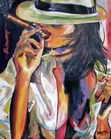 "Cohiba Cigar Girl Aceo Print of Original Art Painting by Artist DAN BYL 2.5x3.5"""