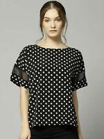M&S Marks Spencer Womens Round Neck Short Sleeve Black Polka dot Spot Top Blouse