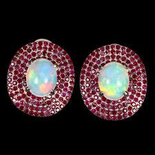 Oval Fire Opal Hot Rainbow Luster 10x8mm Ruby 925 Sterling Silver Earrings