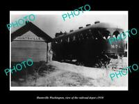 OLD POSTCARD SIZE PHOTO OF HUNTSVILLE WASHINGTON THE RAILROAD DEPOT c1930