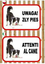 Border Collie Beware Of The Dog sign UWAGA ZŁY PIES ATTENTI AL CANE Plaque