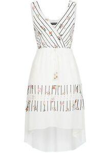 EG18047286 Damen Violet Kleid mit Streifen & Blumen Muster Vokuhila weiß