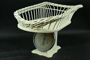 Vintage Ivory Metal Baby Scale W/Wooden Basket Top Weighs 30 Ibs. By Oz. Nursery