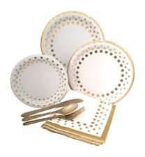Gold Polka Dot Party Elegant Metallic Foil Paper Plates, Napkins & Silverware