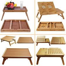 Folding Wooden Bed Bamboo Serving Lap Tray Lightweight Legs Table Breakfast Desk