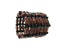 UNISEX WOODEN AWAFA CUFF 8 ROWS OF BEADS - NOWZAD CHARITY