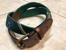 Polo Ralph Lauren Letterman-Overlay Webbed Leather Nylon Belt Mens 32 Green NWT