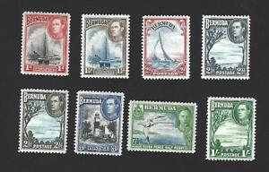 BERMUDA 1938 GEORGE VI, 8 DIFFERENT PICTORIAL STAMPS TO 1/-, CAT £30+, MH