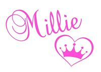 Personalised Name & Heart Crown Wall Art, Custom Vinyl Sticker, Girls Kids