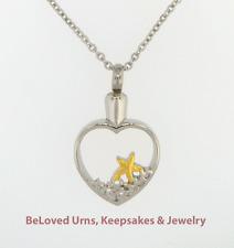 Open Heart Starfish On Beach, Sand Cremation Jewelry Keepsake Urn Pendant Fish