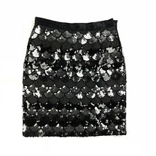 69accd640d Uta Raasch Black & Gray Sequin Fish Scale Couture Satin Skirt Size 42 / US  10
