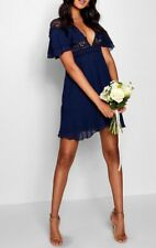 BNWT Boohoo Boutique Lace Ruffle Sleeve Skater Dress Navy Size 10