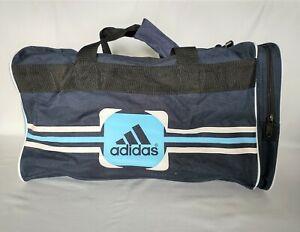 Adidas Duffel Travel Gym Weekend Bag Zipper Pocket Navy Blue Spell Out Logo