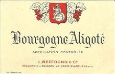 Etiquette de vin Bourgogne Aligoté Soligny la Croix Blanche  eonologie wine
