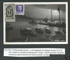 Italia Regno 1934 - Cartolina spedita da Abbazia ( Croazia ) per Vienna