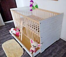 Lit Bébé à Barreaux Tiroir 140x70 Enfant Lot Conversion Superposé Blanc Rose