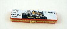 New French Limoges Trinket Box Paint Box with Paint & Hand Painted Titanic Ship