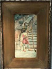 19th c. Italian Listed Augusto CORELLI Spanish Steps Soldier Watercolor Painting