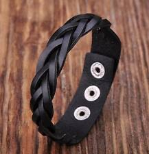 D06 Black  Quality Leather Bracelet Wristband Braids&Studs Cuff Unisex&Men's