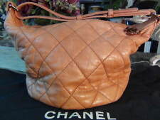 US Seller Auth CHANEL QUILTED LEATHER CC HOBO BAG PURSE PINK BEIGE VERY GOOD