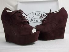 Steve Madden Size 7.5 M Windupp Burgundy Suede Wedges Booties New Womens Shoes