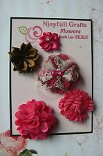 HANDMADE 5 Flower Mix FUCHSIA & BROWN Organza Satin Lace 25-50mm NjoyfullCrafts