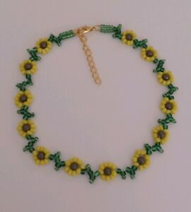 "Sunflower beaded choker necklace   boho 13"" Women's yellow boho"
