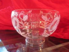 VINTAGE VIANNE ETCHED GLASS FLORAL DESIGN LAMP SHADE - 7 INCH - 3 AVAIL.