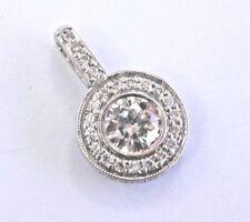 Fine Circular Round Cut Diamond Bezel Set Milgrain White Gold Pendant 14Kt .80Ct