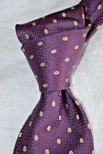 "$235 NWOT BRIONI Plum w/gold ovals 3.6"" men's handmade woven silk tie ITALY"