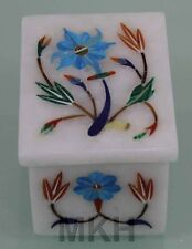 Marquetry Turquoise Lapis Inlay Marble Jewelry Trinket Box Handmade Gift