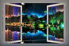 3D Effect PVC Window Skyline City Night Neon Sticker Wall Poster Vinyl GA19-21