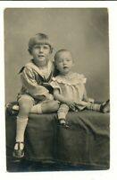Vtg Postcard Photo RPPC Siblings Big Brother Sailor Suit Seated by Little Sister
