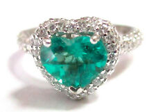 Fine RARE COLUMBIAN EMERALD HEART GEM DIAMOND RING 14kt W/G