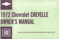1972 Chevelle Owners Manual new 72