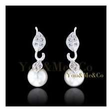 18k White Gold EP Brilliant Cut Crystal & 8mm Cream Pearl Stud Earrings