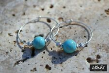 Sterling Silver Hoop Earrings Handmade with Turquoise Magnasite