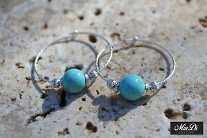 Sterling Silver Hoop Earrings Handmade with Turquoise Magnasite