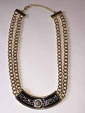 "Gold Tone, Black Lion Double Chain Adjustable Curved Lion Bar Necklace, 18"" + 3"""