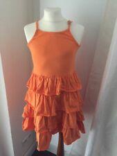 Jacadi Sommer Kleid 140 10 Jahre Sommerkleid Volant Orange Trägerkleid Top