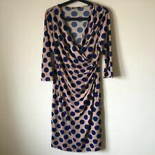 Savoir blue polka dot slinky jersey wiggle wedding races occasion party dress 12