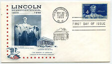 1116 4c Lincoln Sesquicentennial StarCraft by Gilmond, FDC