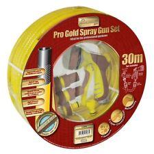 30m Pro Gold Spray Gun Set Flexible Heavy Duty Garden Home Hose Pipe