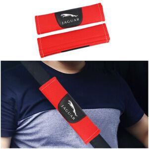 2Pcs Red High Quality Car Seat Belt Shoulder Cover Pad Fit For Jaguar Auto