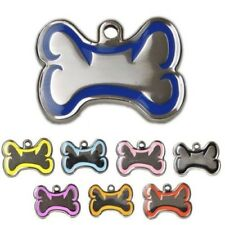 Bone Shape 38mm Silver/Colour Border Personalised Engraved Tags Dog Cat Pet ID